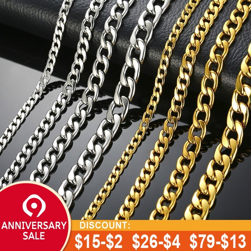 "Men's Necklace Round Miami Cuban Link Chain Gold and Silver Tone Stainless Steel Punk Boy Male Colar Gifts 24""(China)"