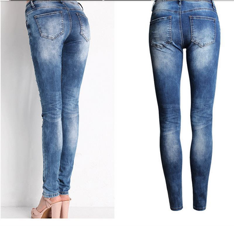 Blue Jeans Pencil Pants Slim Hole Ripped Denim Jeans Casual Stretch Jeans 6