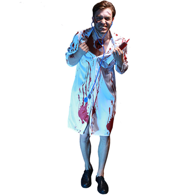 Scary Vampire Doctor Costume For Men Halloween Costume For Adult Bloody Cosplay Clothing