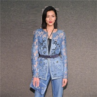 2019 Spring Elegant Blue Lace Jacket Coat Women Designer Runway Hollow Out Thin Overcoat Female Party Holiday Clothes
