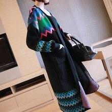 2018 New Autumn Fashion Vintage Geometric Print Cardigan Pockets Women Long Knit Cardigan Coat