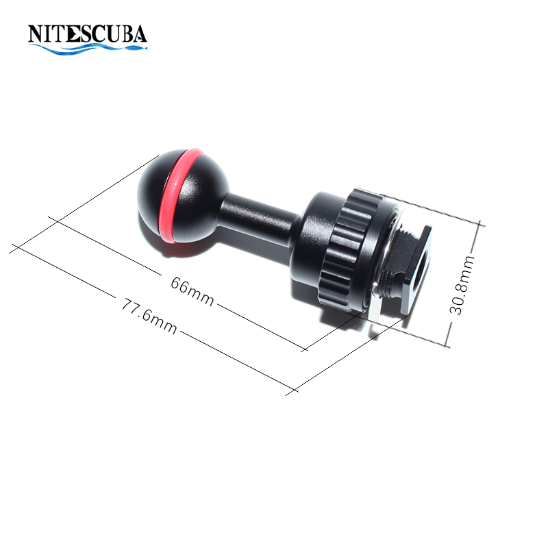 Image 2 - NiteScuba Diving vide light hotshoe Adapter Ball adaptor Mount for RX100 TG5 Camera housing case strobe Underwater Photography-in Sports Camcorder Cases from Consumer Electronics