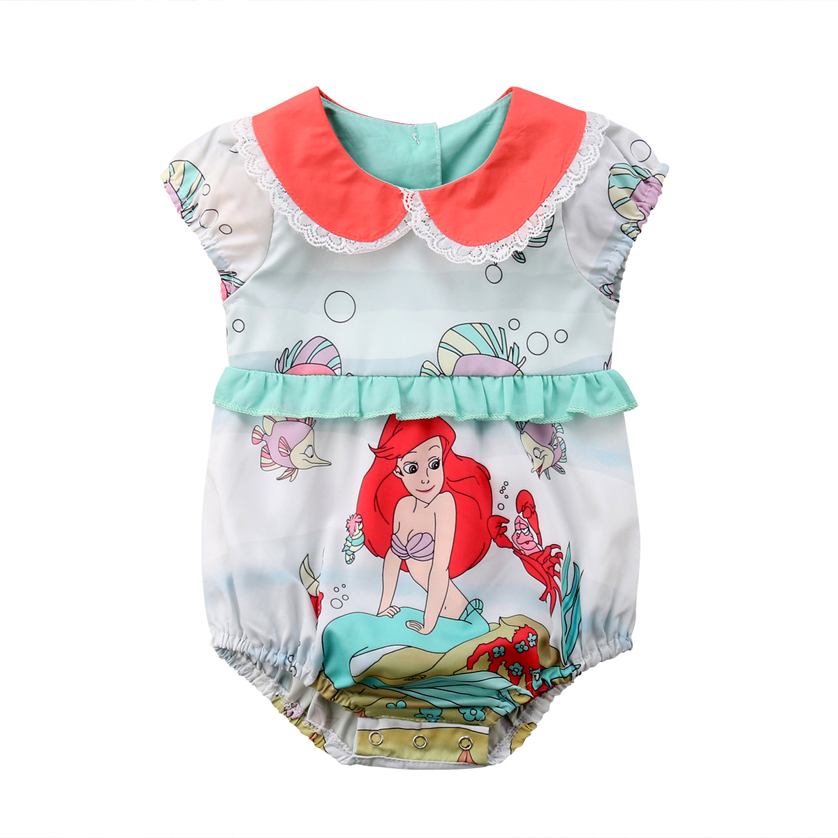 Cute Newborn Baby Girl Mermaid Clothes Short Sleeve Peter Pan Collar Lace Cartoon   Romper   Jumpsuit Outfits Sunsuit