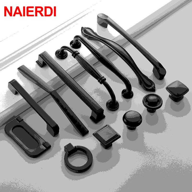Ручки NAIERDI, из алюминиевого сплава черного цвета, американский стиль, жесткие ручки для кухонных выдвижных шкафов, ручки для ящичков, мебель...