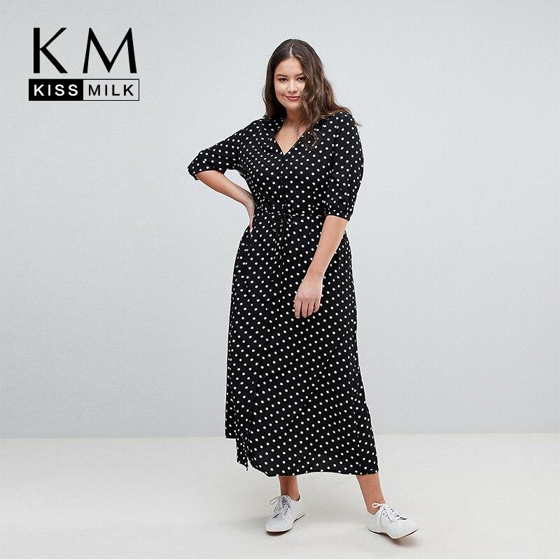 3dfbc84f2aad Kissmilk Plus Size Simple and elegant wave print V-neck dress button tie  waist slimming