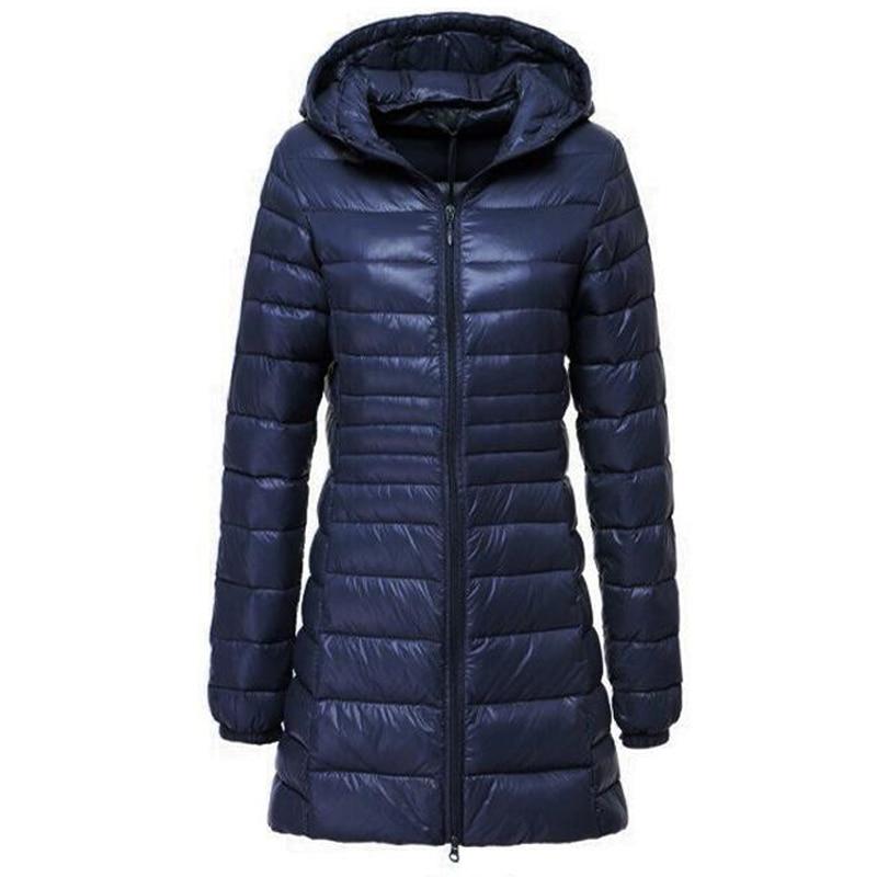 Parkas Mujer 2018 Brand Women Long Thin Light Down Jacket Women's Autumn Winter Hooded Zipper Parka Jaqueta Casaco Feminino Coat