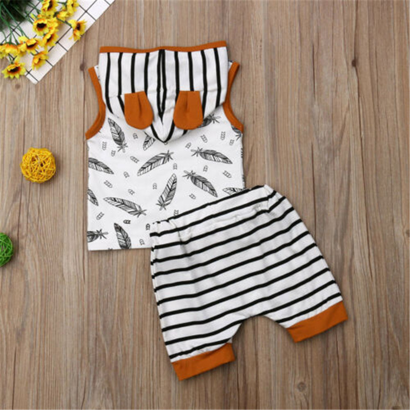0 24 Months Baby Clothes Set Sleeveless Sweatshirt For Girls Leaves Print Hoodies Boys Striped Pants Newborn Toddler Baby Set in Clothing Sets from Mother Kids