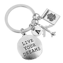 1pc Live Your Dreams Stainless Steel Key Ring Key Chain Tags Keyring KeychainSupplies With Plane Pendant Gift Gifts For Students(China)