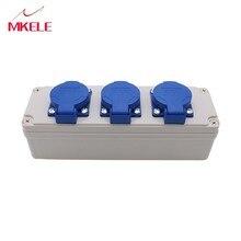 Gratis verzending Plastic Waterdichte Splash Doos Touch Cover Meer Functie Socket Kamer 3 Gaten 10A 80*250*85mm