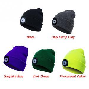 Image 5 - LED אור כובע חם סרוג כובע חיצוני דיג ריצה כפת כובע סתיו חורף פלאש פנס קמפינג טיפוס Caps #08