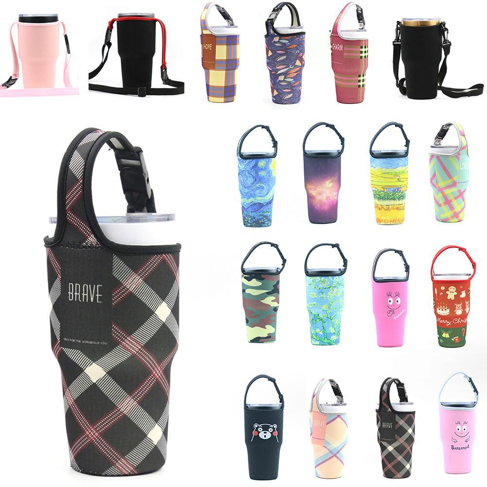 New Silicone Outdoor Travel Water Bottle Sports Bag Cup Set Sleeve Bottle Pouch Protection Printing Portable Vacuum Cups Set