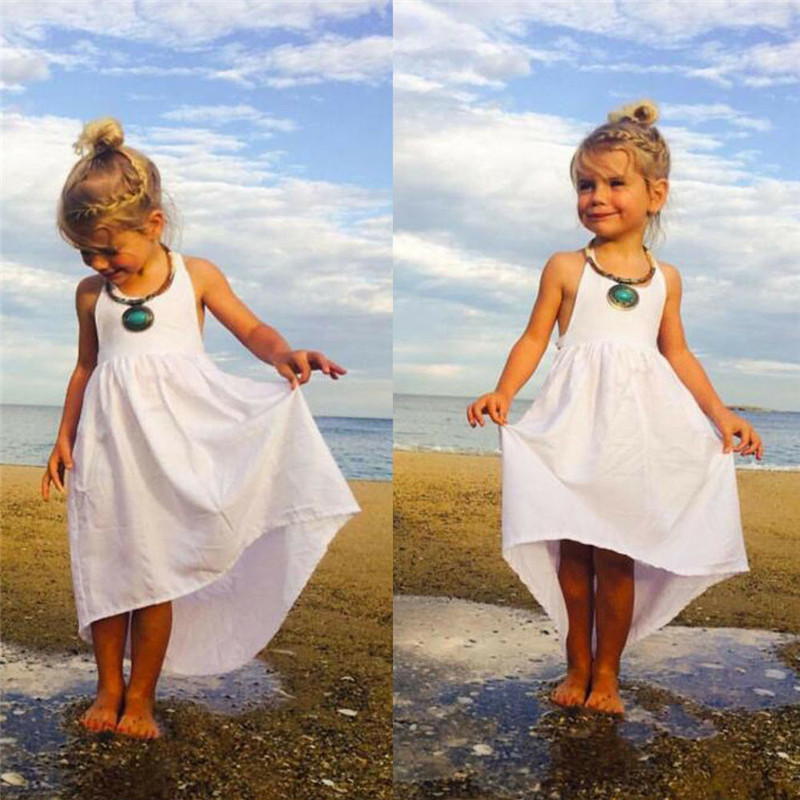Beach-Dress Sling Backless Boho Girl Kids Summer Sleeveless Bandage Plain High-Waist title=