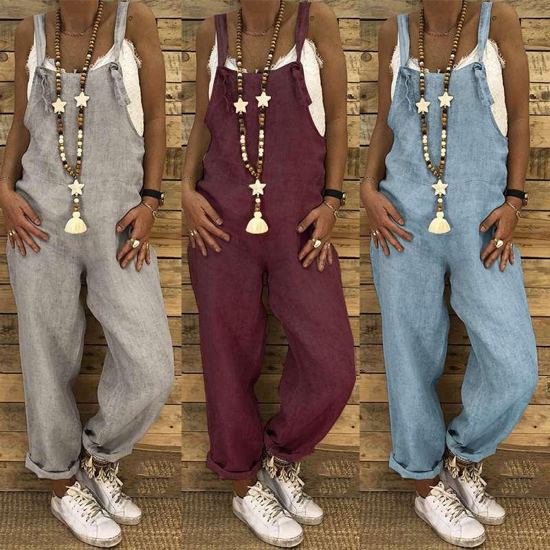 Plus Size Women   Jumpsuits   ZANZEA 2019 Linen Overalls Summer Long Pants Dungarees Playsuits Pantalon Combinaison Femme Romper 5XL
