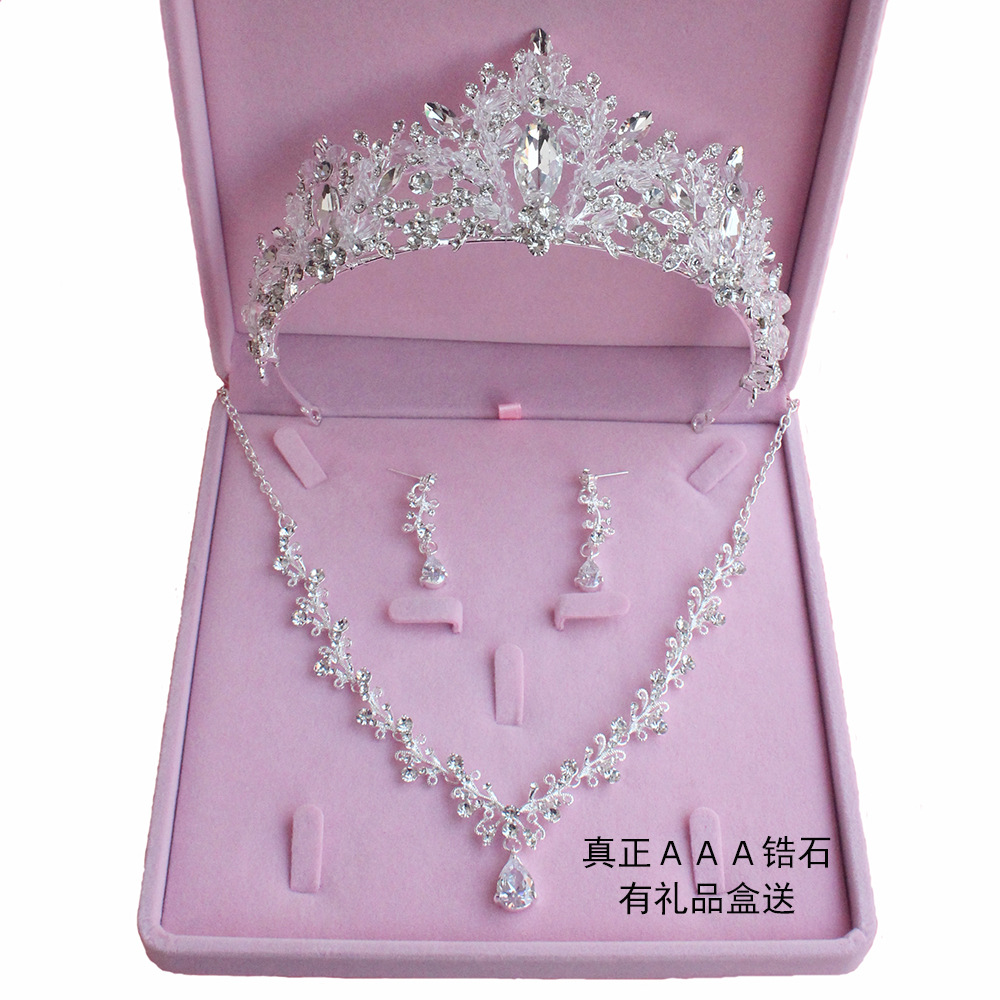 New Bridal Head Wear Crown Three Piece Wedding Necklace Earrings Zircon Set Wedding Hair Accessories Wholesale