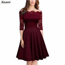 2019 Xnxee new spring and autumn womens temperament elegant boutique sexy lace strapless dress
