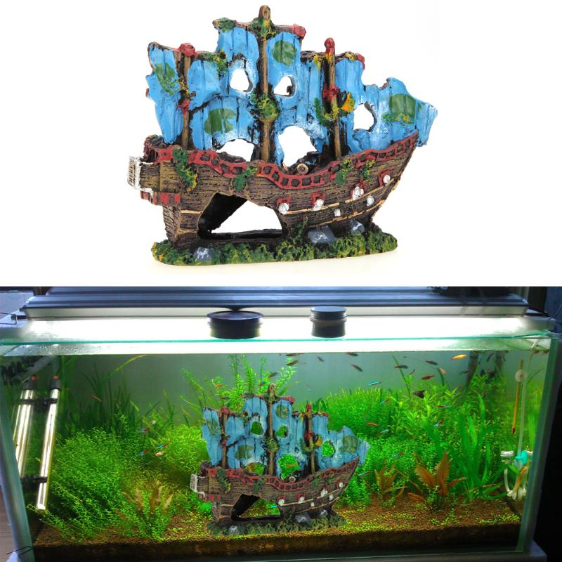 Resin Aquarium Decoration Ornament Simulation Wreck ...