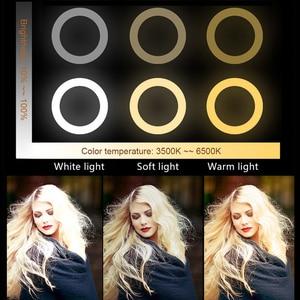 Image 2 - Кольцевой светильник для студийной камеры, светодиодный светильник для селфи, лампа для фото и видеосъемки с штативами, кольцевой Настольный светильник для селфи для Canon