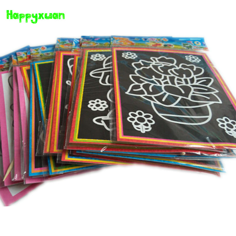 Happyxuan 100pcs/lot 13*9.5cm Two-in-one Magic Color Scratch Art Paper Colouring Cards Scraping Drawing Pictures For Children