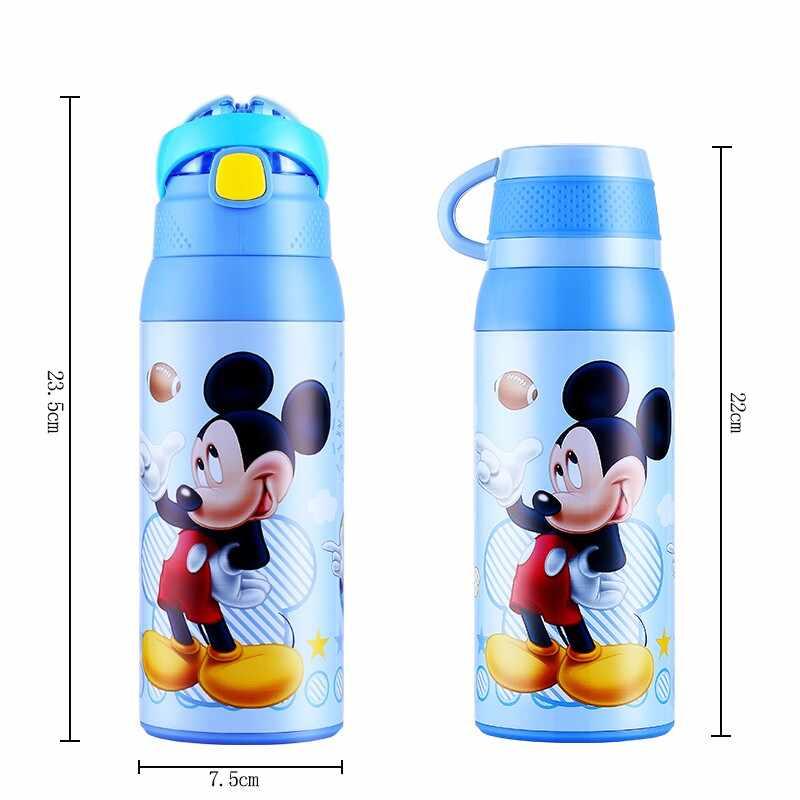 Дисней детский термос чашка для кормления с соломинкой из нержавеющей долговечной стали Вакуумная бутылка для воды колба двойного назначения чайник для детей