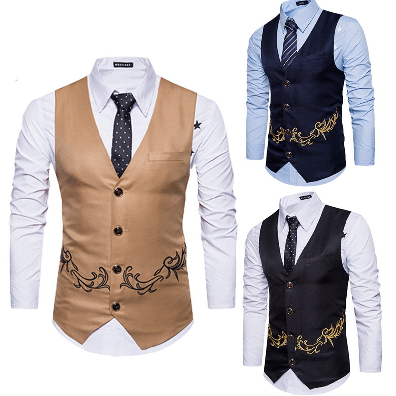 Vest Waistcoat Slim-Fit Navy-Blue Embroidered Black Casual Smart Autumn Tops Workwear