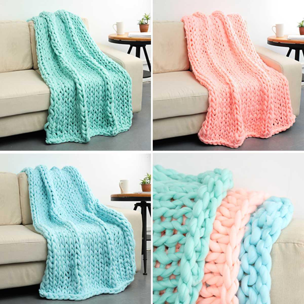 Warm Winter Sofa Chunky Knit Blanket Handmade Thick Line ...