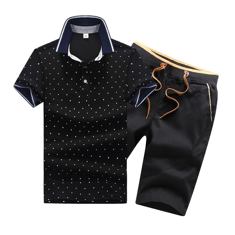 2 Piece Sets Men Cotton Summer Mens Polo Shirts Button Men's Sets Turn Down Neck 4XL Shorts And Polos For Men Clothes Slim Style