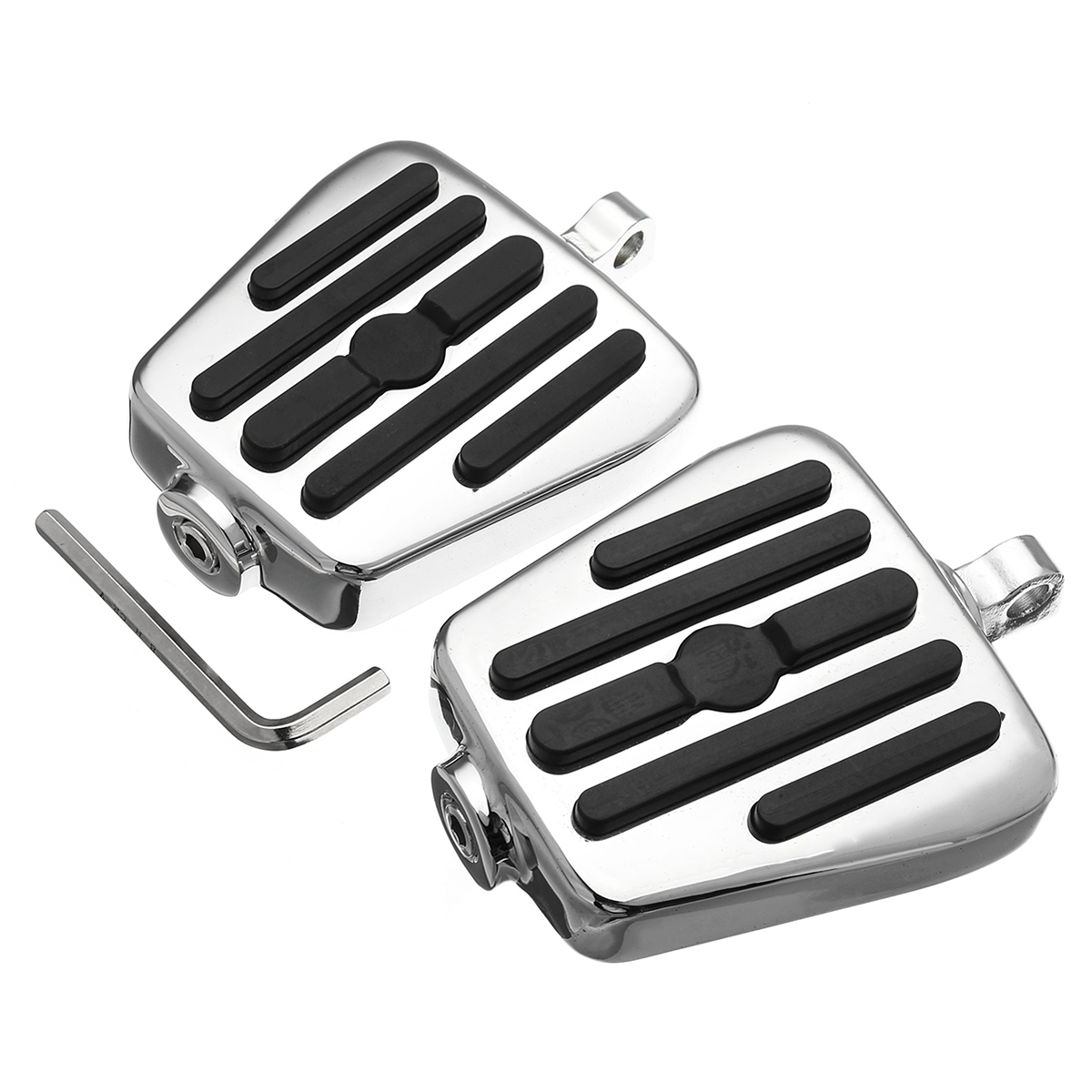 50451-09 Pair Male Mount Footboards Foot Board Pegs Chrome Male Mount Bracket Kits Foot Rests Brand New 1set