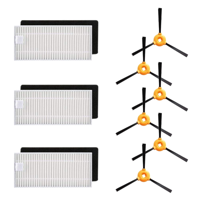 Replacement Kit - 3 sets filters kit(3pcs high efficiency filters+3 pcs foam filters),6 pcs side brushesReplacement Kit - 3 sets filters kit(3pcs high efficiency filters+3 pcs foam filters),6 pcs side brushes