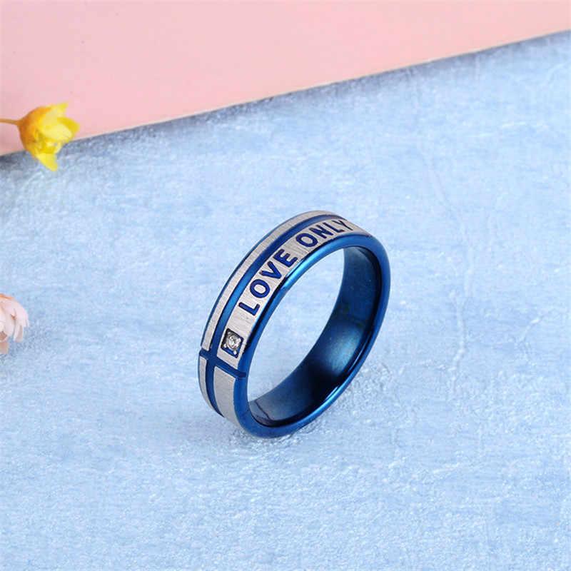 Новое кольцо из нержавеющей стали для мужчин LOVE ONLY YOU, пара колец для влюбленных, синее кольцо на палец для женщин, свадебные кольца, ювелирные изделия из кристаллов