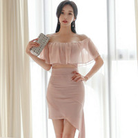 2019 Summer Slash Neck Chiffon Patchwork Hollow Out Sexy Women Cloth Mini Bodycon Irregular Pink Party Dress