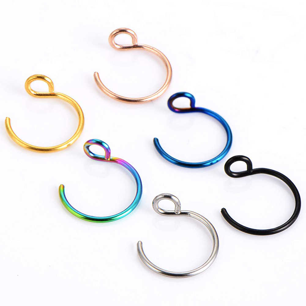 1pc 316L Septum Ring Hoop 20G Steel Faux Nose Lip Labret Nostril Piercings Oreja Cilp On Nose Piericng Girls Jewelry Silver Gold