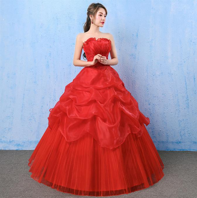 LASONCE Pleat Strapless Red Tiered Tulle Ball Gown Wedding Dresses Off The Shoulder Lace Appliques Backless Bridal Dress in Wedding Dresses from Weddings Events