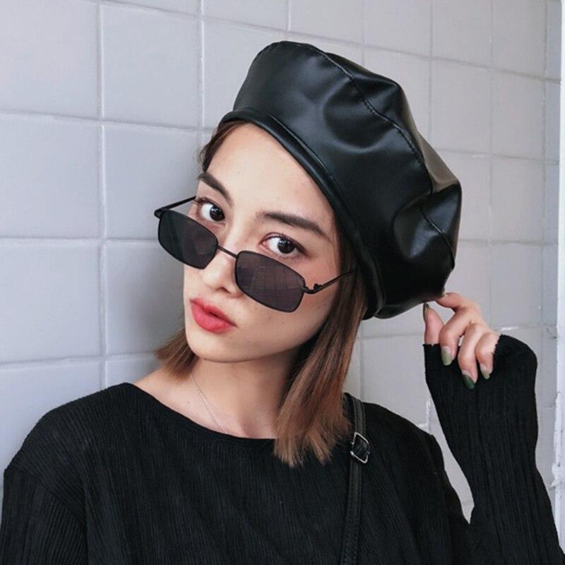 2019 Einfache Fühlte Pu Leder Baskenmütze Hut Frauen Kappe Weibliche Damen Beanie Beret Mädchen Für Frühling Und Herbst