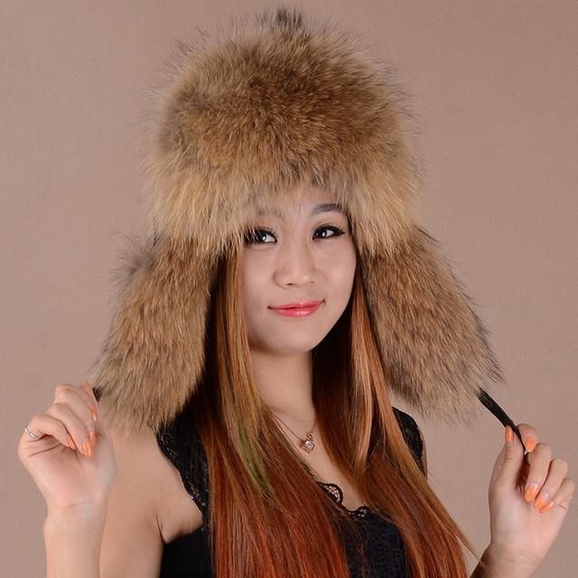 5793d9bbc Russian fur hat ushanka leather winter hats of real raccoon silver fox  cossack snow with earflaps H211
