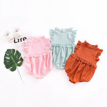 Newborn Baby Girls Princess Ruffle Romper Jumpsuit Clothes Outfits Summer New Rompers 3 Colors