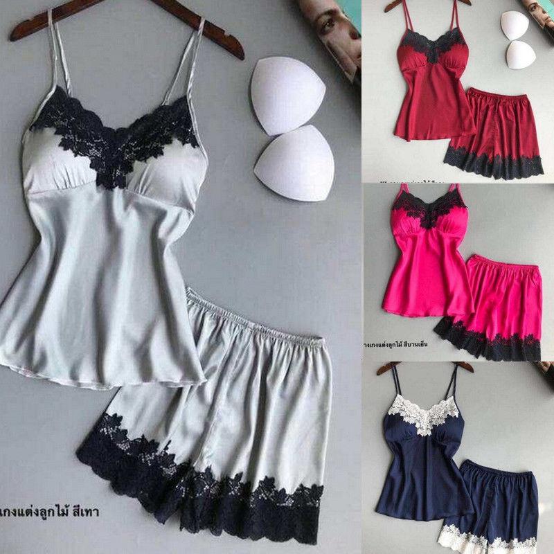 Women Sexy-Lingerie Sleepwear Sleep Vest Tank Top + Shorts   Set   Satin Silk Babydoll Lace Nightwear   Pajamas     Set