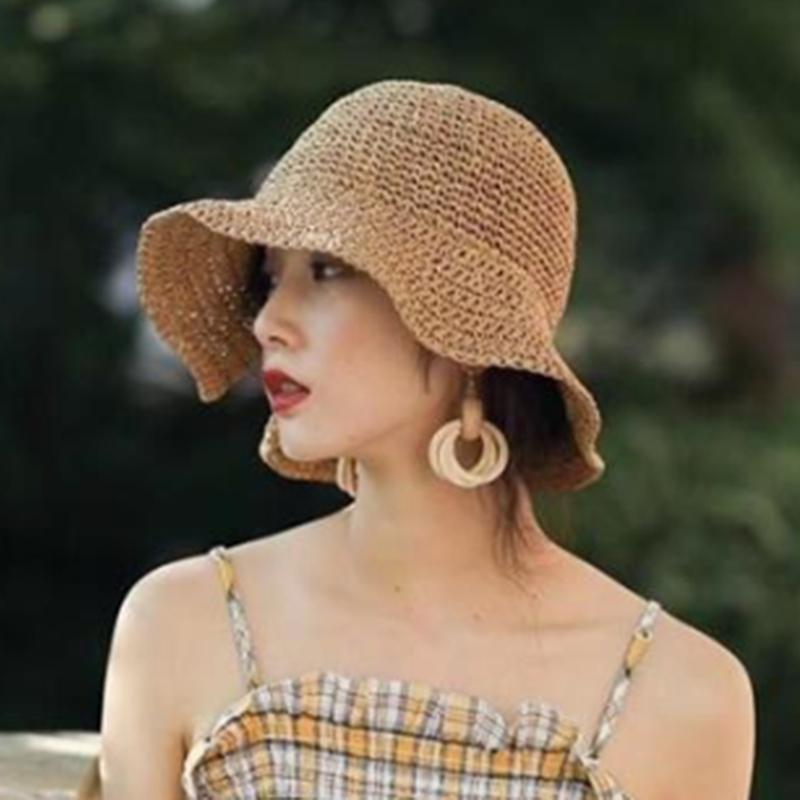 Parent child 100%Raffia Bow Sun Hat Wide Brim Floppy Summer Hats For Women Beach Panama Straw Dome Bucket Hat Femme Shade Hat