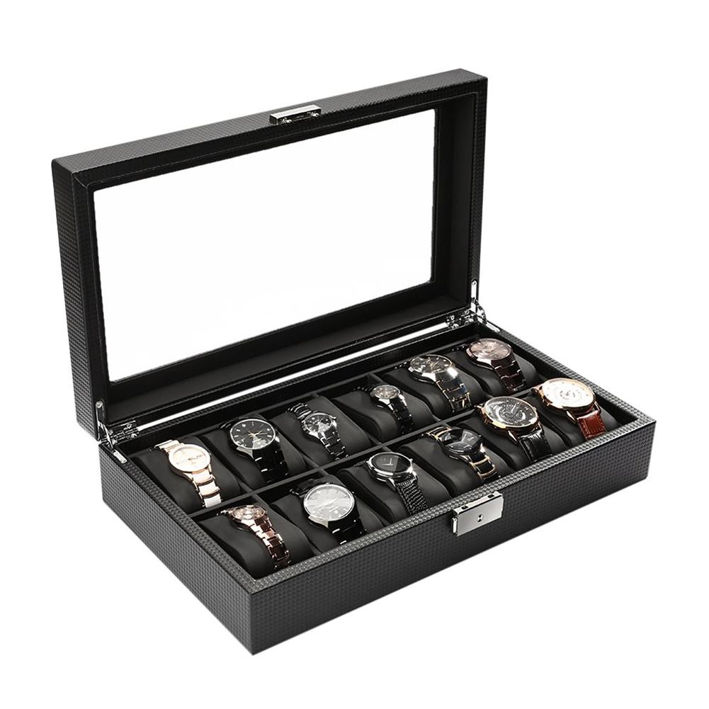 Véritable Fiber de carbone en cuir bijoux boîtier de serrure montre affichage boîte de stockage verre Top montre Case