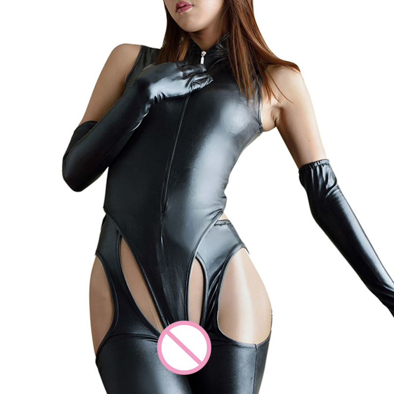 <font><b>Sexy</b></font> <font><b>Lingerie</b></font> Faux Leather Catsuit PVC <font><b>Latex</b></font> Bodysuit Front Zipper Open Crotch Clubwear fetish hot <font><b>erotic</b></font> Pole Dance <font><b>Lingerie</b></font> image