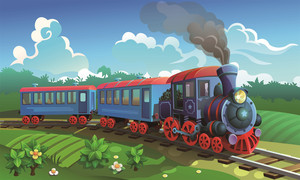Cartoon Cute Train Theme Backdrop for Photography Kids Train Birthday Party Photo Background Children Theme Birthday Party Adven