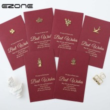 Buy EZONE Greeting Card +Envelope Set Red Card Delicate Metal Decoration Birthday Wedding Goft Message Card Creative Stationery directly from merchant!