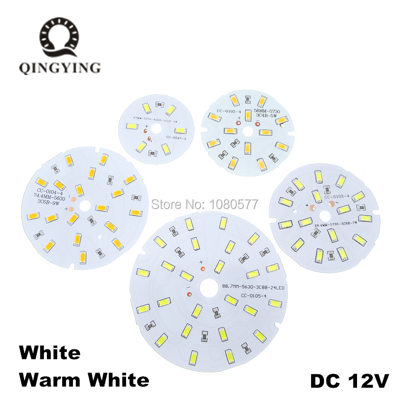 5pcs DC12V LED 3W 5W 7W 9W 12W 15W 30W 45W 5730 SMD Lamp Plate Needn't Driver Connect Light Source White/ Warm White Lamp Panel