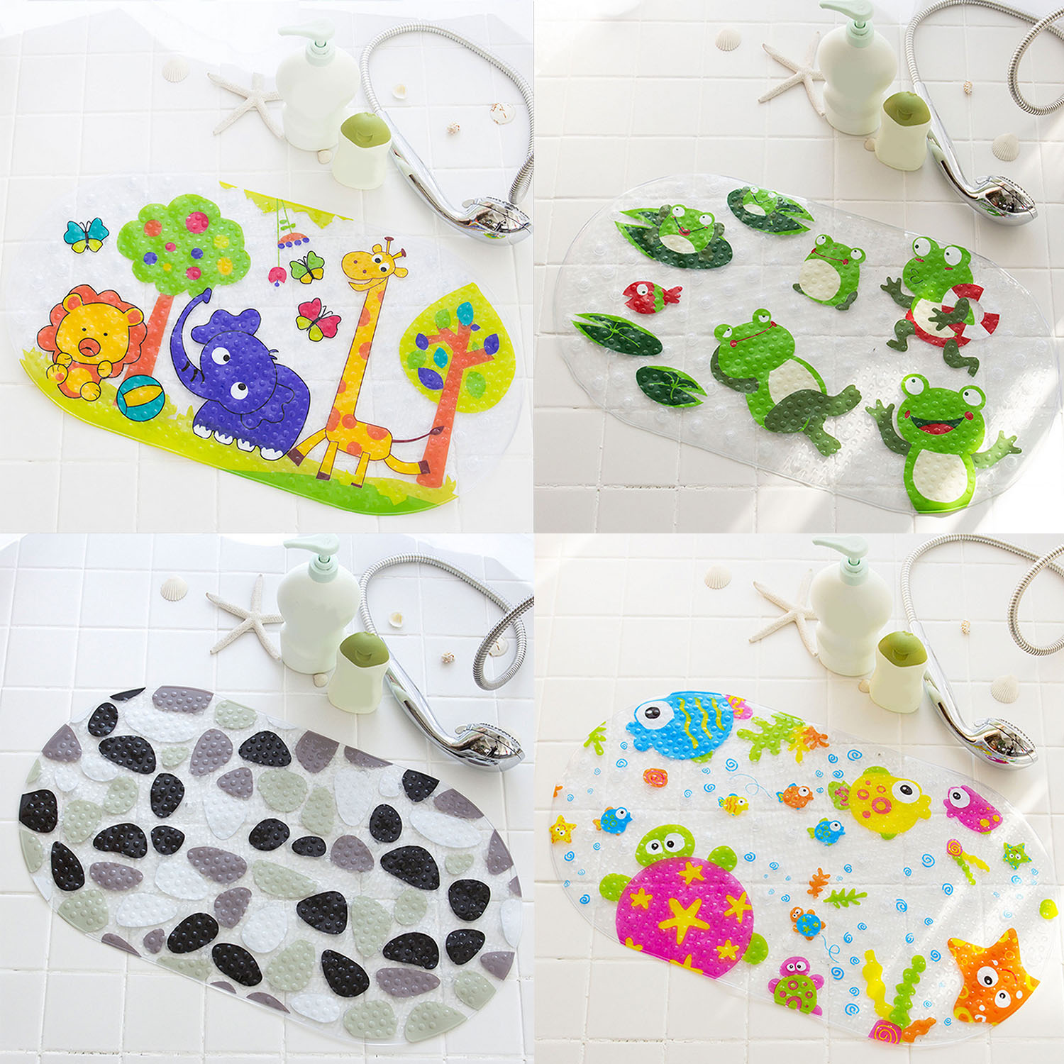 Cute Cartoon Silicone Anti-Skid Baby Bath Mat with Suction Cups Toddler Shower C