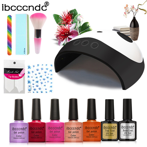 Secador de Lâmpada com 5 Unha Conjunto uv Pcs 10 ml Polonês Gel Absorver Off Manicure Semi Pernament Kit Pedicure Ferramenta Art 36 w