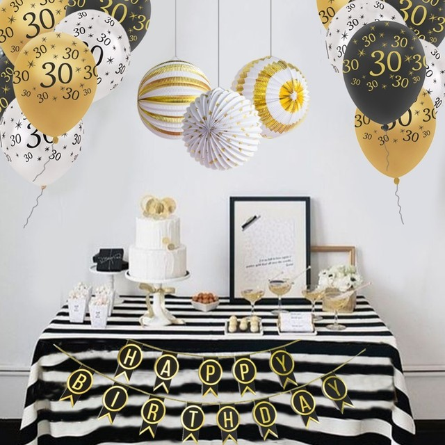 Birthday Party Decorations Adult For 30th 40th 50th Decor Lanterns Banner Latex Balloons