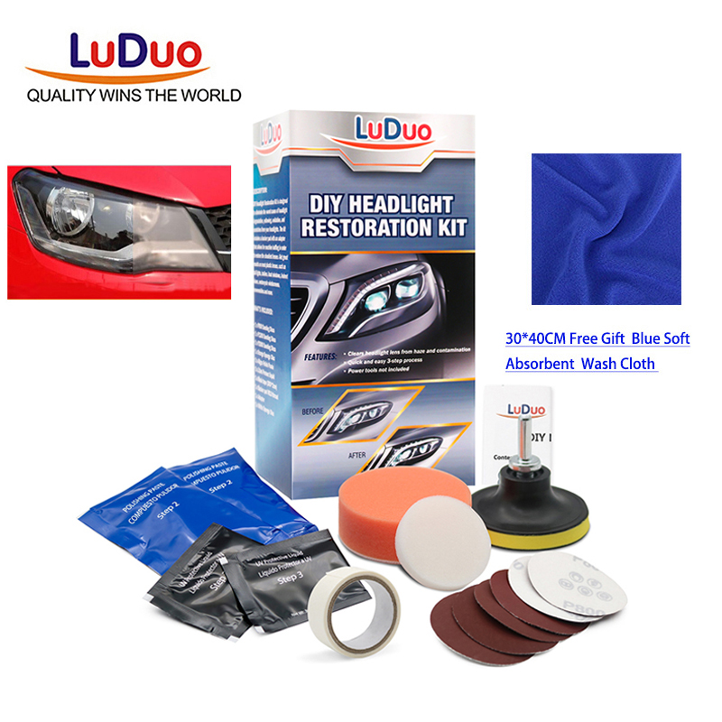 Luduo Car Polish Headlight Restoration Polishing Kits Headlamp Cleaner Paste Care Wash Brightener Repair Paint Care With Cloth