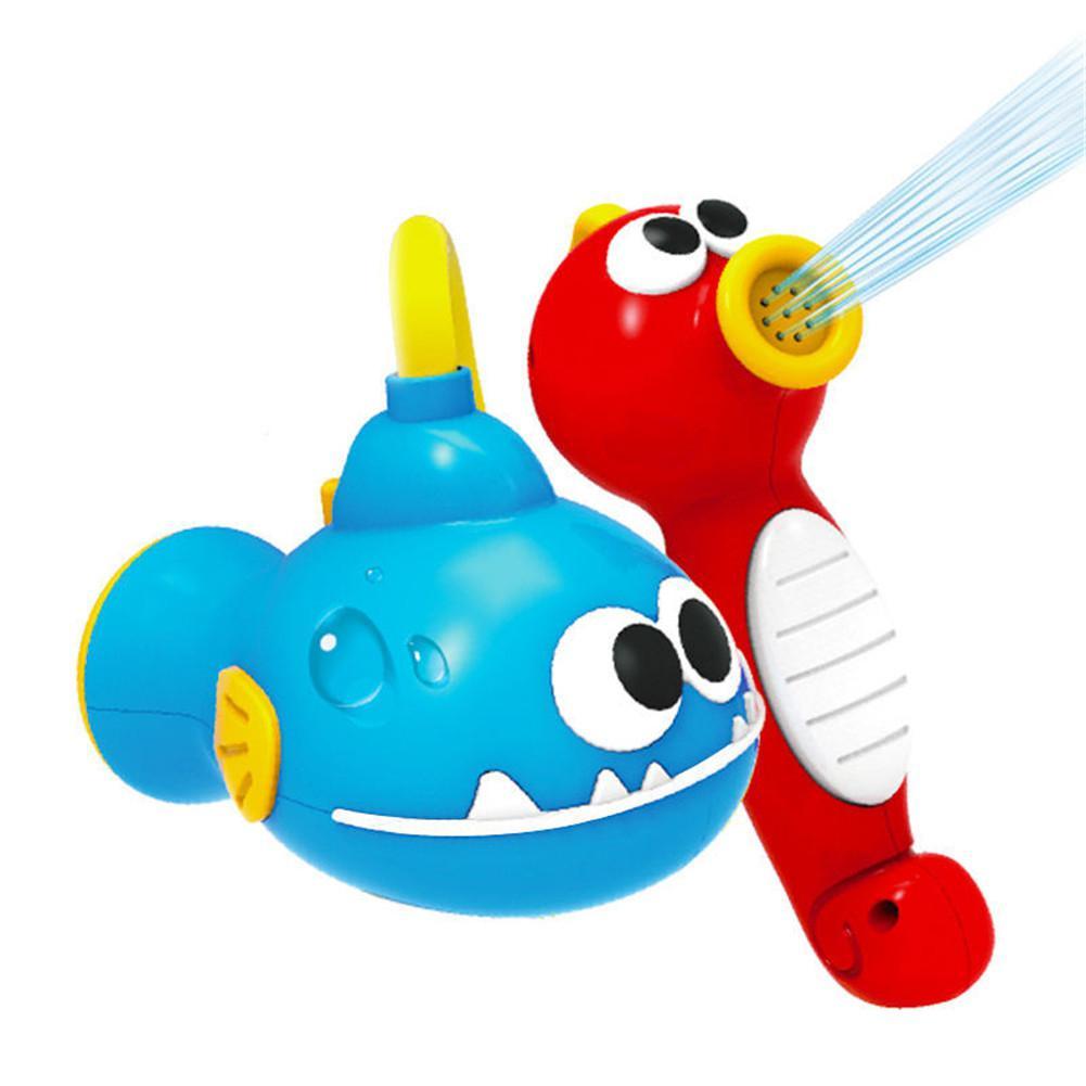 Baby Shower Sea Horse Bath Toys For Children Kids Bathtub Spray Water Pump Tool
