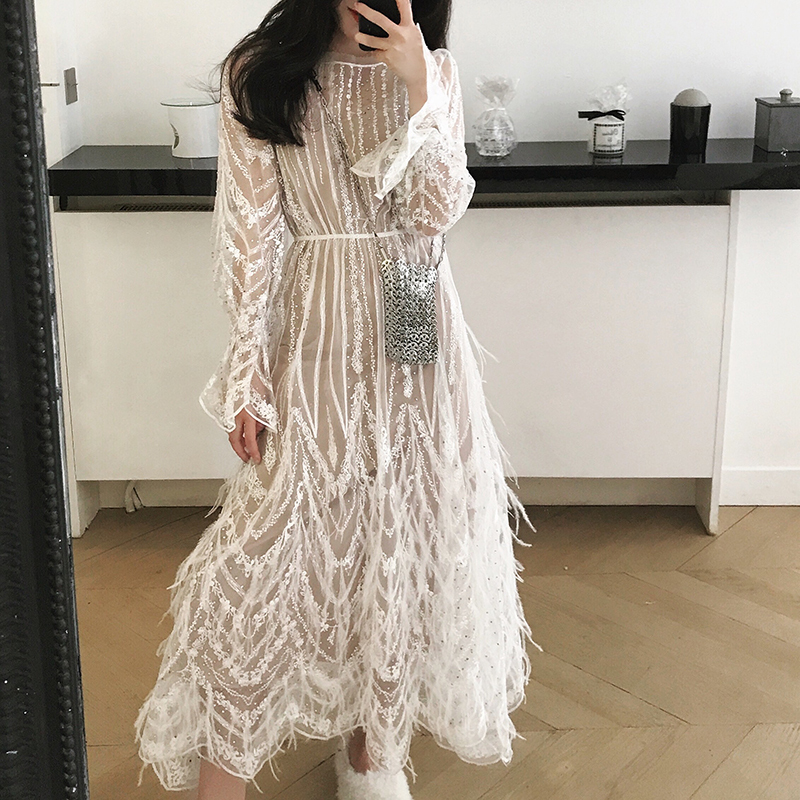 Comelsexy Women Dress Spring Summer High Quality Tassel Feathers Sexy Party Dress Embroidery Designer Runway Mesh
