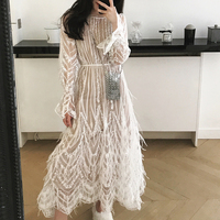 Comelsexy Women Dress Spring Summer High Quality Tassel Feathers Sexy Party Dress Embroidery Designer Runway Mesh Long Dress