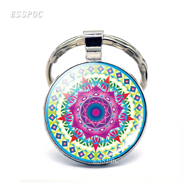LLavero de GEMA de cristal Yoga Mandala azul foto llavero hecho a mano joyería de verano Chakra llavero Bijoux coche llavero India regalo